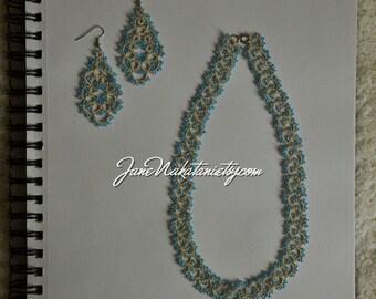 tatting lace jewelry set -blue-