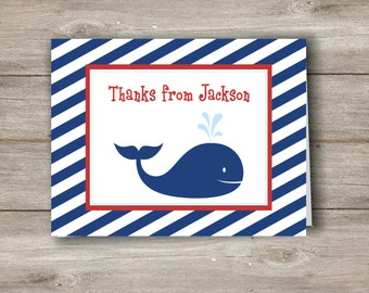 Editable Whale Note Card, Personalized Whale Thank You Note Card, Custom Whale stationery,Whale Custom kids stationery, Instant Editable PDF