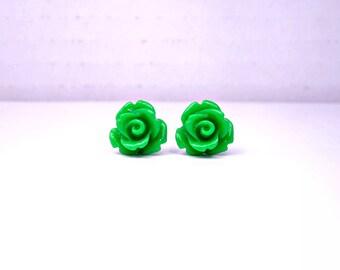 Green Rose Earrings; Lead and Nickel Free Rose Bud Earrings; Green Stud Earrings; Rose Jewelry; Flower Stud Earrings; Rose Cabochon Earrings