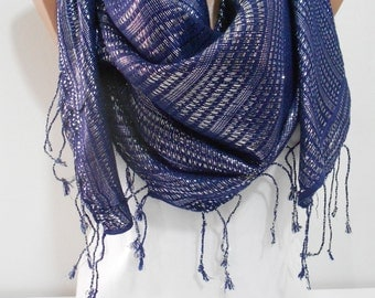Sparkle Cowl Scarf Navy Blue Scarf Shawl Sparkly Fringe Scarf Shimmer Scarf Women Fashion Accessories Christmas Gift Ideas For Her
