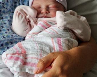 Hospital Newborn Beanie, PINK, WHITE and BLUE striped hat, Newborn's First Bow, Newborn hat with bow, newborn girl hospital hat