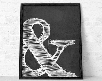 Ampersand print Black and white print typographic print Typographical poster Ampersand poster Ampersand Wall art typography home decor