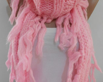 Knitted Pink Scarf Ascot Neck Warmer Women Fashion Accessory Warm Circle Scarf Cozy Winter Scarf Warm Tube Scarf Christmas Gift Idea for Her