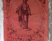 1800s antique French religious banner