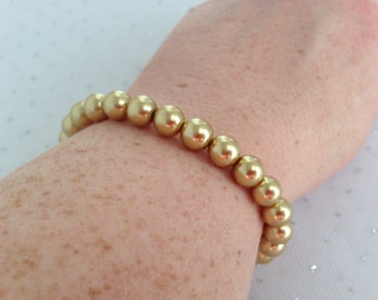Gold Pearl Bracelet, Gold Bridesmaid Jewelry, Gold Wedding Bracelet, Gold Beaded Jewelry, Bridesmaid Gift, Womens Bracelet