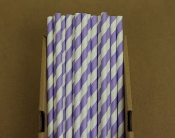 25 lilac striped straws (PS0016)  - lavender party straws - with printable DIY flags