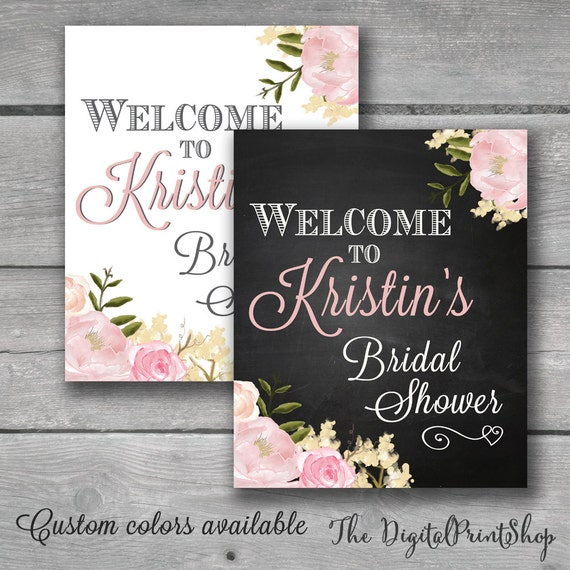 Welcome sign watercolor bridal shower rustic chic chalkboard for Wedding shower signs