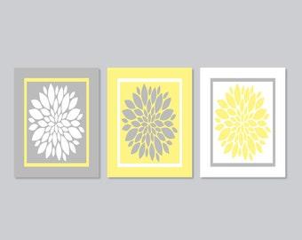 Yellow Gray WALL ART, Floral Wall Decor, Bedroom Wall Decor, Bathroom Decor, Yellow Gray Home Decor, Bathroom Art Set of 3  Prints Or Canvas