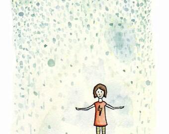 Please rain, A6 giclee print
