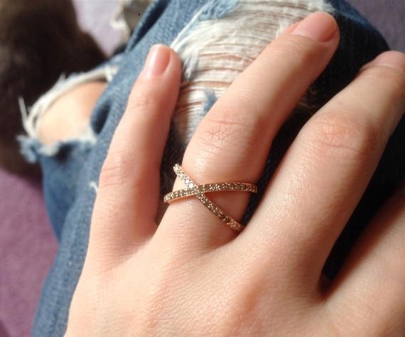 14K Rose Gold Diamond X Ring