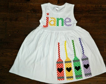 Back to School Dress Crayon Appliqué - Toddler or Girl's Dress