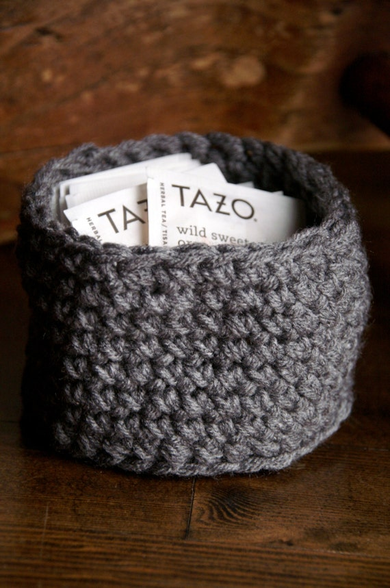 Handmade Crochet Basket : Small handmade crochet basket colors