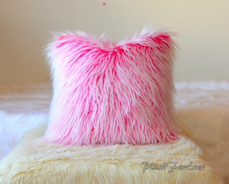 one pair faux fur home decor pillows 18 x 18