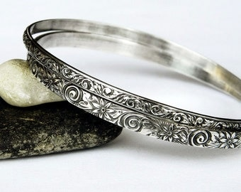 Two Ornate Foral Sterling Silver Bangles - Silver Bangle Set - Handmade Solid Sterling Bangle Bracelet Set - Stacking Bangles