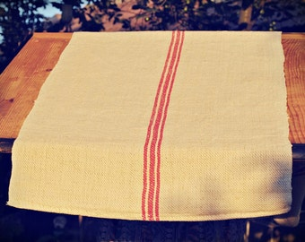 Vintage grain sack table runner - red stripe - European hemp handwoven fabric - Christmas