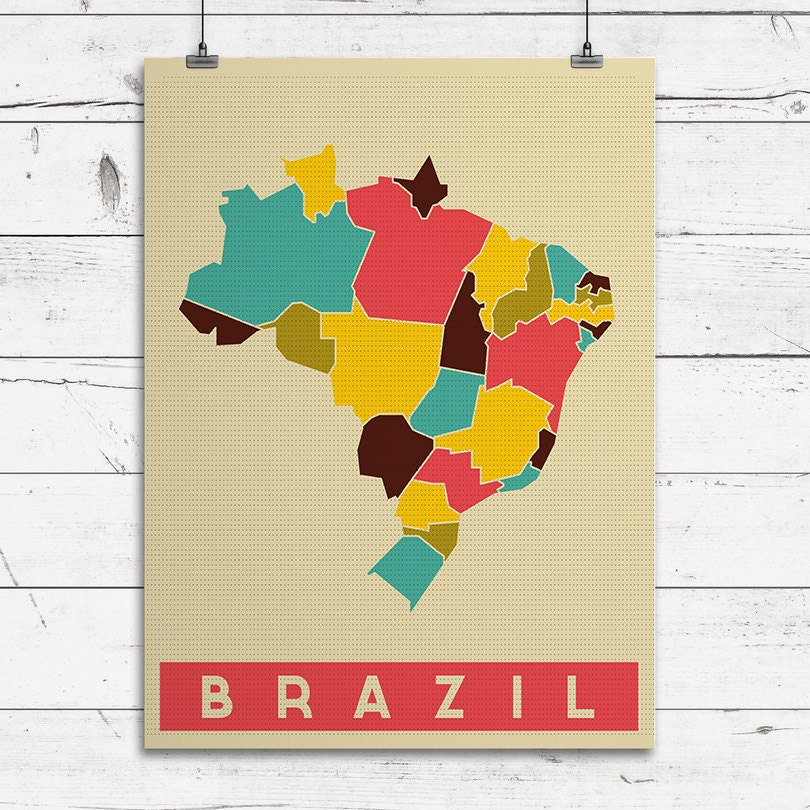 BRAZIL Art Print Pop Art Map Modern Style Country Map - Brazil map illustration
