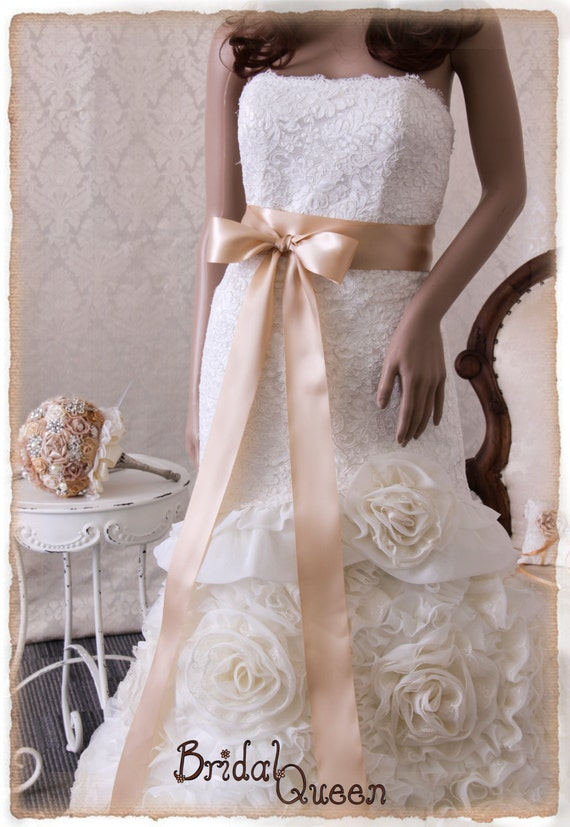 Beige wedding sash belt beige bridal sash wedding dress for Satin sash for wedding dress