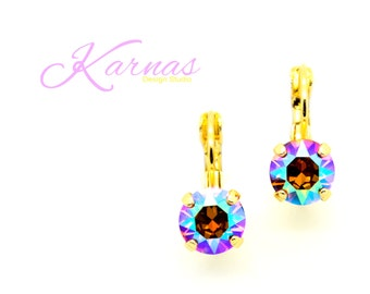 TANGERINE AB 8mm Crystal Drop Leverback Earrings Made With Swarovski Elements *Pick Your Finish *Karnas Design Studio *Free Shipping*