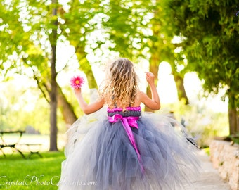 Charcoal Gray Flower Girl Tutu Dress - Tulle Flower Girl Dress - Grey Tutu Dress - Flower Girl Tutu Dress - MADE TO ORDER