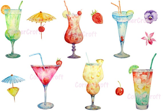 peint  u00e0 la main des cocktails aquarelle num u00e9rique clip art mason jar clip art with heart template mason jar clip art free