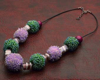 Jewelry Necklace Beadwork Handmade necklace Summer necklace Green and lilac hues necklace