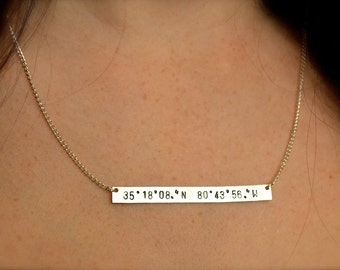 Latitude and Longitude Coordinates Silver-Aluminum Bar Necklace - Coordinate, Handmade, Custom, Stamped, Metal Necklace