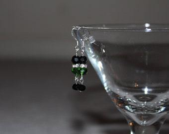 Small Green & Black Earrings