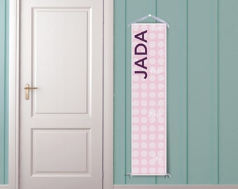 Pink and White Polka Dot Personalized Growth Chart