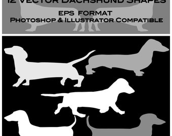12 Dachshund Digital Vector Silhouette Shapes Clipart EPS & PNG