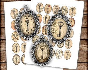Steampunk Keys Oval Images 30x40mm, 22x30mm Printable Images Digital Collage Sheet