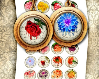Melting Flowers - Digital Collage Sheets 14mm, 16mm, 1.5 inch, 1 inch, 25mm for Jewelry Making, Bottle caps Printable Images