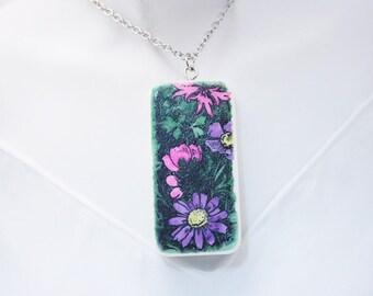 "Art Nouveau Floral (#1), Tile Pendant, Hand Decorated, 2"" x 1"" Up-cycled Domino Tile Pendant Necklace"
