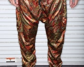 Gold and Red Paisley Silk Print -Mens Drop Crotch / Harem Pants  or Joggers -Tailored Street Fashion - Summer - High Fashion - Miami - NYC