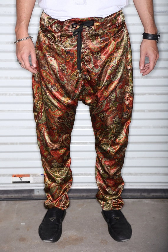 Gold and Red Paisley Silk Print Mens Drop Crotch / by C4DApparel