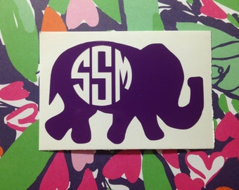 Elephant Monogram Decal