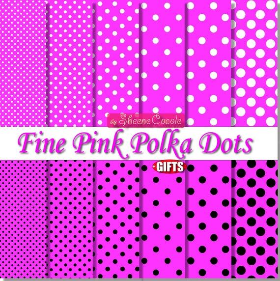 Pink Polka Dot Digital Paper Black and Pink scrapbook background clipart minnie collage sheet Hot Pink color printable party supply clip art