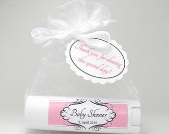 10 Baby Shower Favors, Bridal Shower, Wedding Favors, Party Favors, Custom Favors, Pink Favors, Baby Girl Favors: all natural lip balms