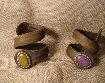 Bracelets hand made leather and stones decorated with resin