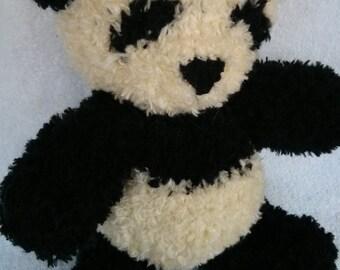 Yun Zi, the Hand Knit Panda Bear, stuffed panda, stuffed animal, stuffed toy, cute panda, plush panda, nursery decor, panda plushie, gift