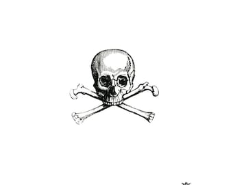 Vintage Skull and crossbones, Pirate tattoo, Halloween tattoo, Body Art,  Wickedly Lovely Skin Art Temporary Tattoo (includes 4 tattoos)