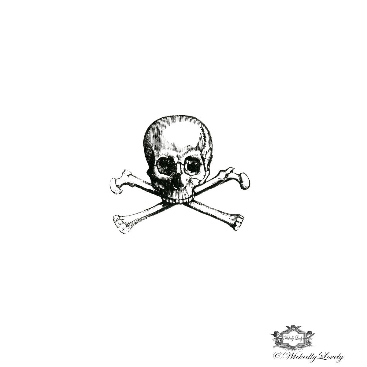 Vintage skull and crossbones pirate tattoo halloween tattoo for Skull and crossbones tattoo