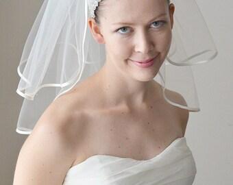 Satin veil, satin wedding veil, bridal veil, shoulder veil, short veil, tulle veil, two tier veil, ivory veil, 5mm satin bias binding