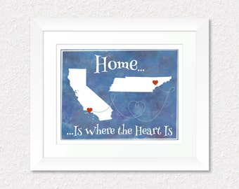 Best Friend Long Distance Gift, Home is Where the Heart is Present, Family Present, Custom Map Art, Moving Away Present, Choose Your Places