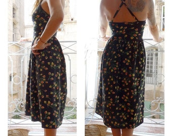 FRENCH 90's TEHEN set of  dress and cardigan // made in france