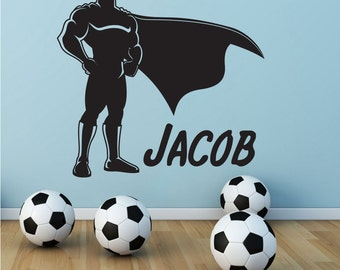 Superhero Wall Decal Etsy - Superhero vinyl wall decals