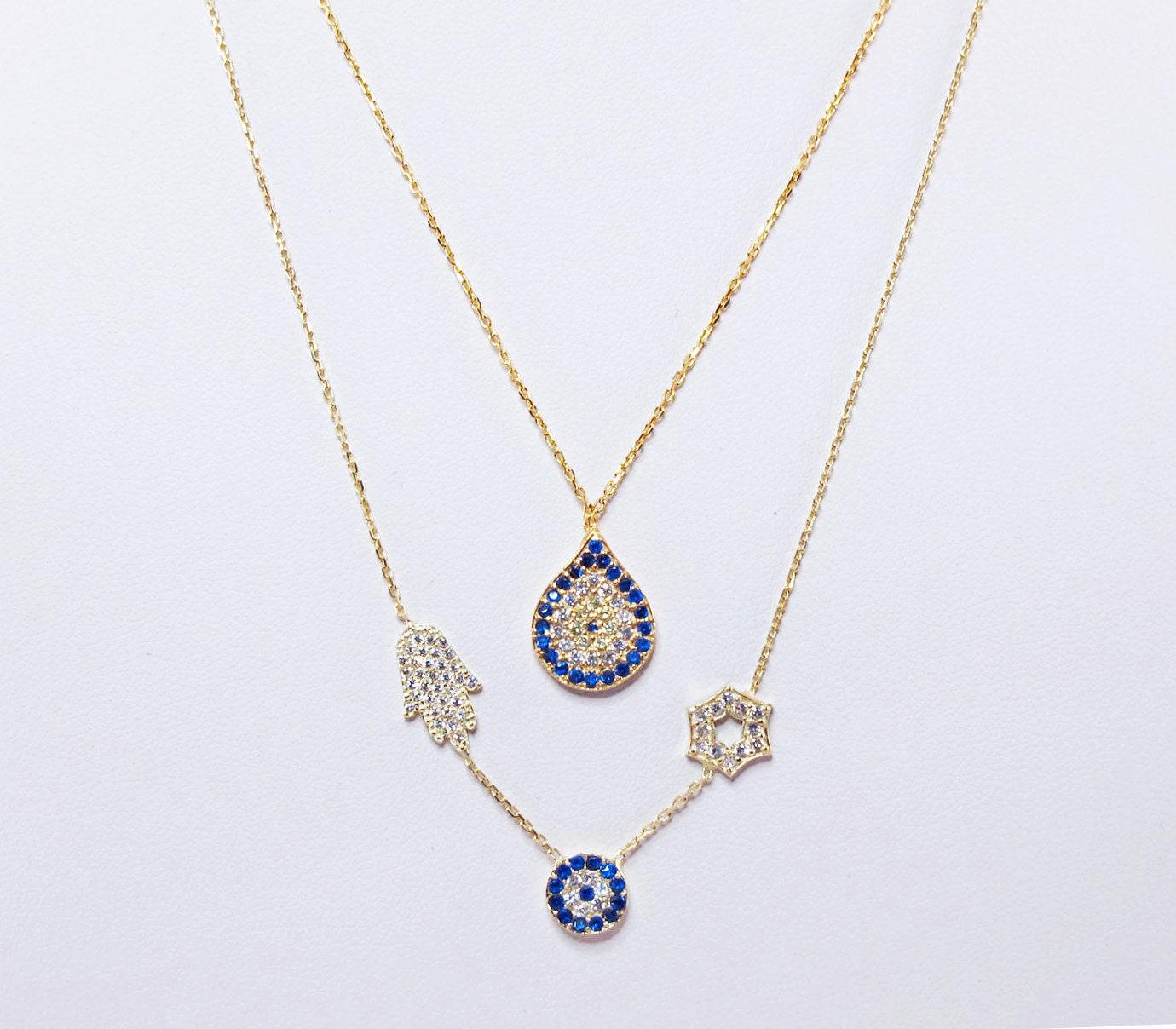 tear evil eye gold pave necklace