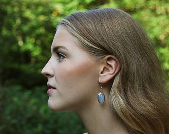 Cornflower blue chalcedony drop earrings