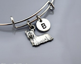 Yorkshire terrier bangle, Yorkie bracelet, Silver Yorkie charm bracelet, Yorkshire terrier charm, Expandable bangle, Initial bracelet