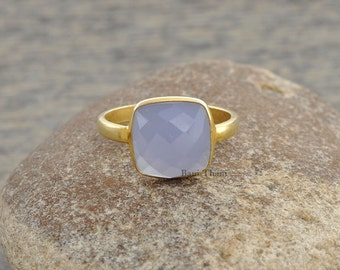 Lavender Chalcedony Ring - 10mm Cushion Ring - Bezel Jewelry - Gemstone Ring - Sterling Silver Ring - Birthstone Ring - #1308