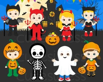 HALLOWEEN Digital Clipart, Halloween Clipart, Trick or Treat Clipart, Skeleton Clipart